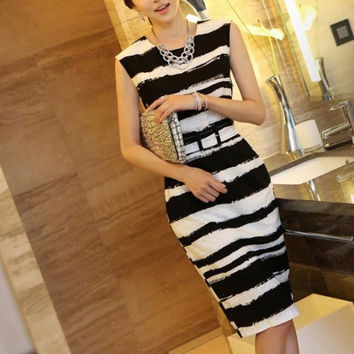 Fashion High Quality Zebra Casual Modal Dresses = 1876647876