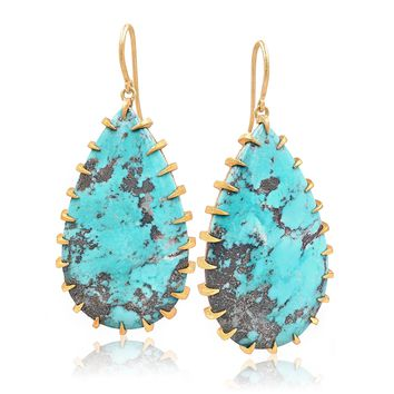 Devta Doolan Natural Morenci Turquoise Gold Talon Drop Earrings