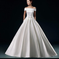 Stunning 2015 new wedding Dress Satin Wedding Dress shoulder strap dress red tail = 1932326468