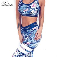 Didiopt Tracksuit for Women Print Floral Sport Suit Comfortable Blue Sleeveless Workout Set Sportwear Yoga Set  Summer S1379