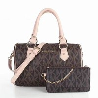 MK Michael Kors MK Women Leather Shoulder Bag Satchel Tote Handbag Crossbody Set Two Piece G-LLBPFSH