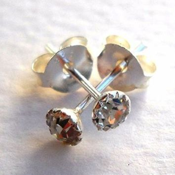 Stud Earrings Pair 925 Sterling Silver Flowerset 3mm Rhinestone Clear,Pink