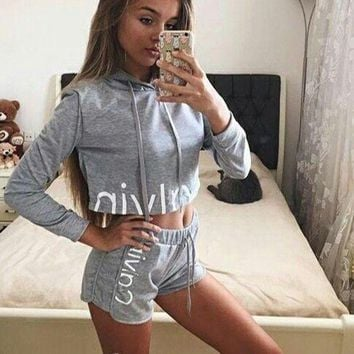 """Calvin Klein"" Print Hoodie Shirt Top Shorts Set Two-Piece"
