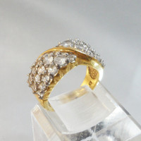 Vintage CZ Ring. Cubic Zirconia Cluster. China. 925. Gold Plated.