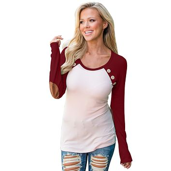 Burgundy Raglan Sleeve Elbow Patch and Buttons Top