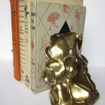 Vintage Bookends Dogwood Flowers PM Craftsman Heavy Hand Cast Brass Made in USA With Original Tags Great Display Pieces