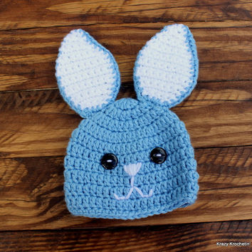 Crochet Blue Bunny Infant Boy Set - Hat, Diaper Cover, Booties - Size 0-3 months