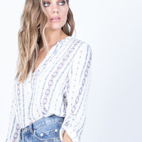 Buttoned in Tribal Blouse