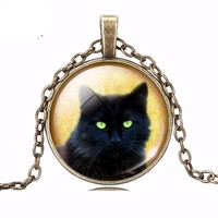 New Arrival Black Cat glass cabochon Pendant Necklace Art Silver Bronze Color Chain Vintage Necklace women Fashion Jewelry