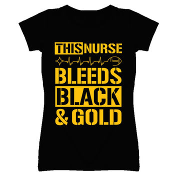 Lady's This Nurse Bleeds Black and Gold Steelers T-Shirt