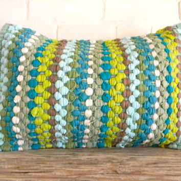 woven greens and blues pillow cover 16x20 by pillowhappy on Etsy