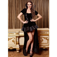 Woman Sexy Halloween Club Party Witch Black Backless Cross Bandaged Lint Long cloak Short Dress Costume
