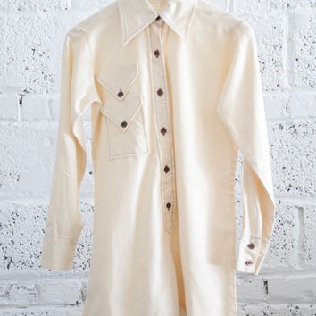 Western 1960s Point-collar Romper with Brown Stitching