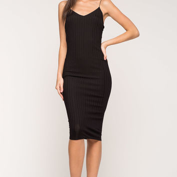 Silky Ribbed Column Dress
