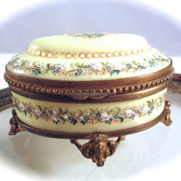 Antique JEWELED ENAMEL BOX Hand Painted Jeweled Bronze Footed Trinket Box Casket French or Austrian 19th Century