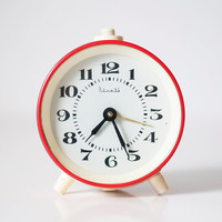 Vintage soviet mechanical alarm clock VITJAZ