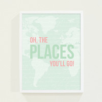 Dr. Seuss Wall Art - Mint Green Baby Girl Nursery Art Print - Oh, The Places You'll Go - Map Nursery Wall Art Poster - Kids Wall Art