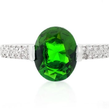 Harla Emerald Green Oval Cut Solitaire Engagement Ring | 3ct | Cubic Zirconia | Silver