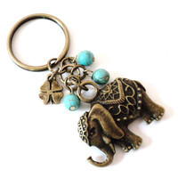 Sacred Elephant Turquoise Keychain Bag Charm Yoga Accessories Good Luck Party Favors Gifts For Her Christmas Stocking Stufffer Under 20