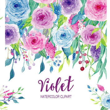 Watercolor Clipart Violet Collection - floral elements border, frame and flower arrangement for instant download,