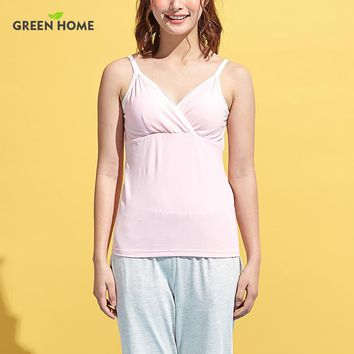 Green Home buttom Maternity Nursing lingerie Clothes With Side Breastfeeding Opening Top For Mother Convenient Lacatating wear