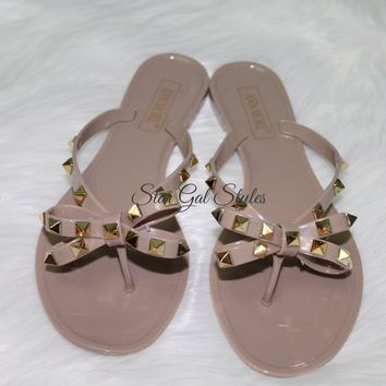 Barcelona Dark Beige Jelly Bow Studded Sandal