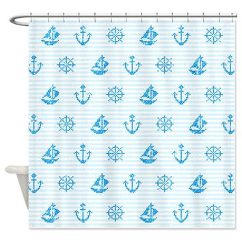 Blue Shower Curtain - Sea Knitting #2 - Ornaart Design