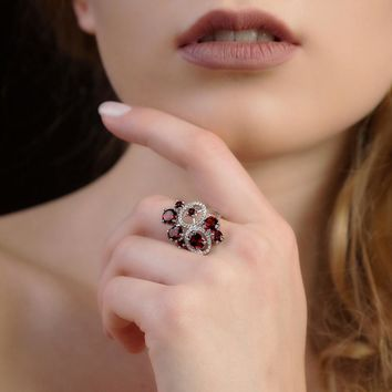 GEM'S BALLET Natural Garnet Genuine 925 Sterling Silver Gemstone Rings Flowers Trendy for Women Romantic Gift Fine Jewelry