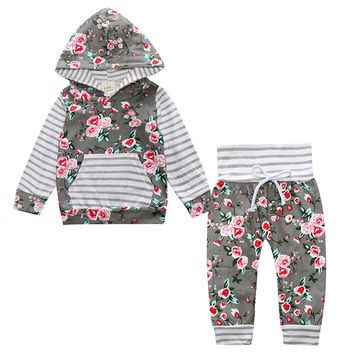 2017 Hot baby Autumn new baby boy clothes Children Baby Girls Long Sleeve Hooded Tops Floral pants 2 pcs. clothing set SY188