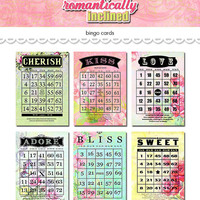"Digital romantic love floral bingo cards / Valentine ephemera / 5"" by 7"" and 4"" by 6"" / downloadable, printable"