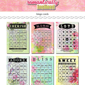 """Digital romantic love floral bingo cards / Valentine ephemera / 5"""" by 7"""" and 4"""" by 6"""" / downloadable, printable"""