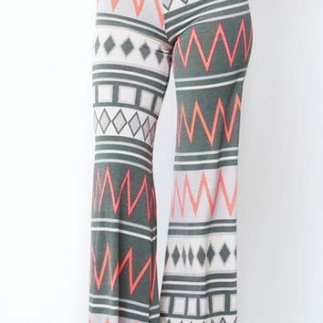 Coral and gray palazzo pants