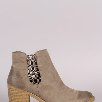 Qupid Elasticized Woven Chunky Heeled Booties