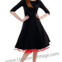Stop Staring Black First Lady Scoop Neck Rose Swing Dress - S to 3XL - Unique Vintage - Cocktail, Evening & Pinup Dresses