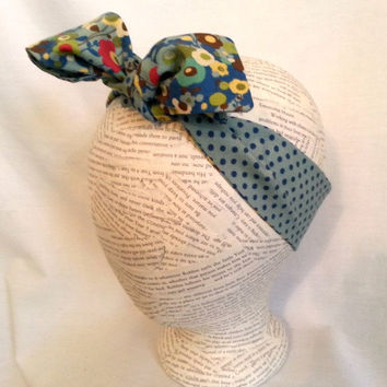Headwrap - Reversible Head Wrap - Baby Head Wrap - Knot Tie Headband - Big Bow Head Wrap -  Retro Knot Head Wrap - Blue Flowers & Polka Dots