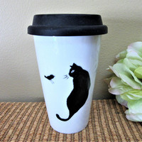 Mug Travel Coffee Cat Lovers Porcelain Ceramic Black White Hand Painted blm