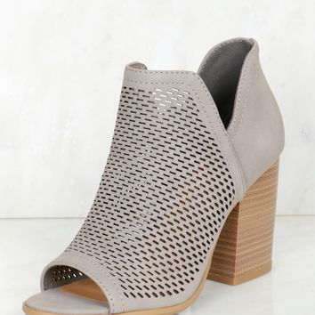 Cut Out Peep Toe Bootie Grey