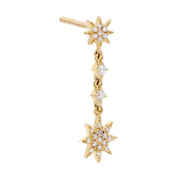 Diamond Starburst Dangle Stud Earring 14K