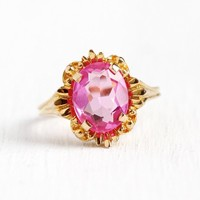 Pink Stone Ring - Vintage 10k Rosy Yellow Gold 2.2 Carat Created Pink Sapphire Statement - 1960s Retro Size 5 3/4 BDA Flower Fine Jewelry