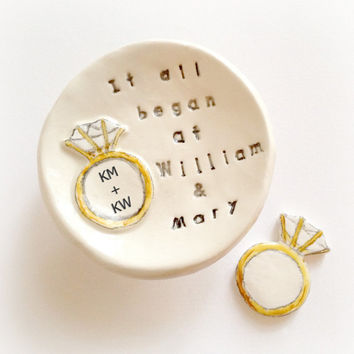 Personalized couples engagement gift ring holder graduation gift college ring dish handmade by Cathie Carlson
