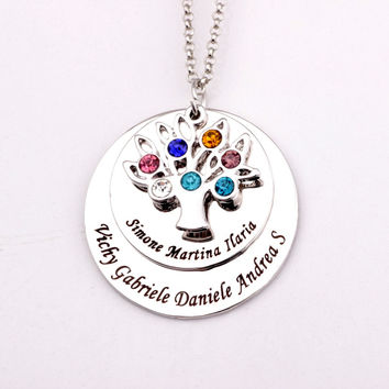 Family Tree Birthstone Necklaces