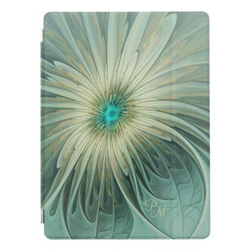 Modern Art Fantasy Flower Turquoise Wheat Monogram iPad Pro Cover