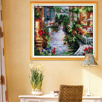 cross stitch kit The Lakeside Houses  11CT 14CT  923