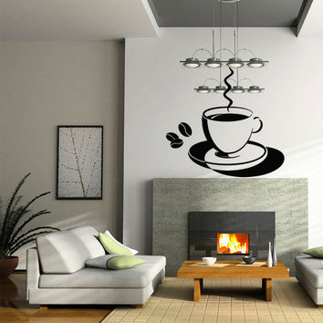 Wall decal decor decals art coffee grain broad beans time cup pot kitchen food cafe design mural bedroom (m1004)