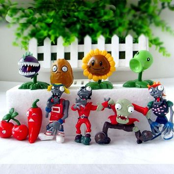 Plants VS Zombies PV Z Collection Figures plant zombies figure Toys Free Shipping 10pcs/lot