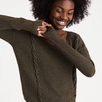 AEO Cross Stitch Sweater, Olive