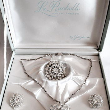 Vintage La Rachelle by Jason, Fifth Avenue Rhinestone Set in Original Presentation Box, Circa 1940's, Brooch, Pendant, Earrings,