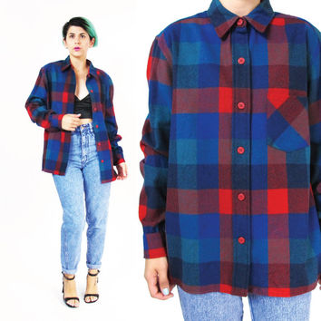 Vintage Pendelton Shirt Plaid Wool Shirt Mens Flannel Shirt Plaid Jacket Plaid Button Down Shirt Winter Red Blue Tartan Grunge Unisex (S/M)