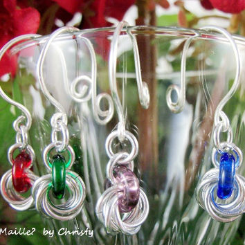 Hostess Gift Set Colourful Chainmaille Wine Markers by GOTMaillebyChristy