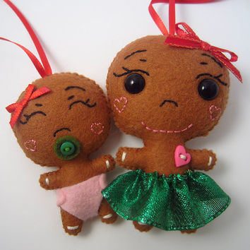 Gingerbread Girl Christmas Ornament - Green Gingerbread Ornament - Christmas Ornament